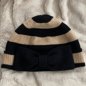 Kate Spade Tan and Black bow beanie hat
